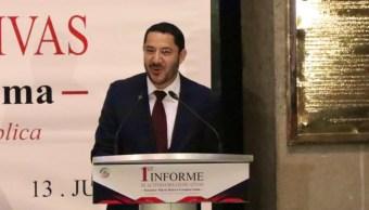 Foto: El primer informe de actividades legislativas de Martí Batres Guadarrama como Presidente de la mesa directiva del Senado, julio 14 de 2019 (Twitter: @CitlaHM)