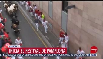 FOTO: Inicia popular festival de corridas de toros en Pamplona, España, 6 Julio 2019