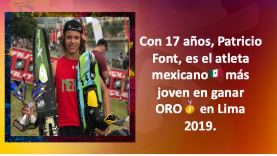 Foto: Patricio Font piensa superar su récord en el Mundial de Esquí, 30 de julio de 2019 (Twitter @CONADE)