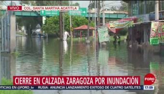 Foto: Lluvia causa inundaciones en Calzada Ignacio Zaragoza, CDMX