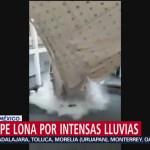 Foto: Lluvia Rompe Lona Patio Palacio Municipal Chalco 25 Julio 2019