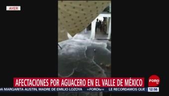 Lluvias provocan colapso de lona en Palacio Municipal de Chalco