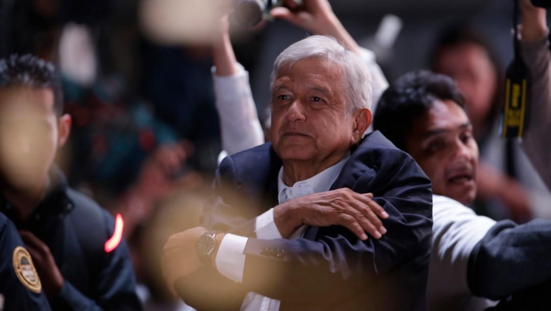 Foto: López Obrador durante el festejo luego de su triunfo el 1 de julio de 2018, Ciudad de México