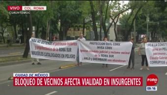 Manifestantes bloquean Av. Insurgentes y Quintana Roo, CDMX
