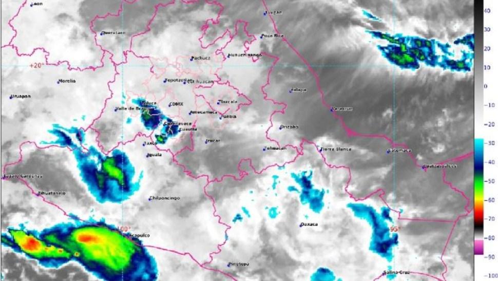 Foto:La imagen de satélite muestra nubosidad asociada a lluvias en el centro del país 13 julio 2019