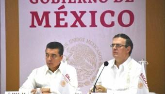Foto: Marcelo Ebrard y Rutilio Escandón, 12 de junio 2019. Twitter @SRE_mx