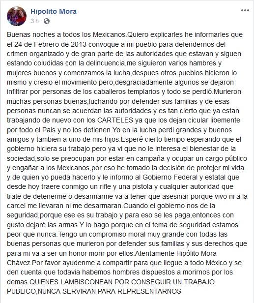 Mensaje de Hipólito Mora