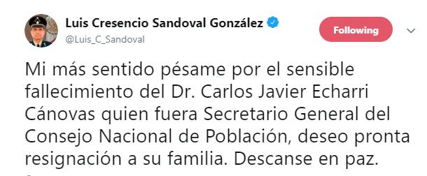 IMAGEN Muere Carlos Echarri, titular del Consejo Nacional de Población (Twitter)