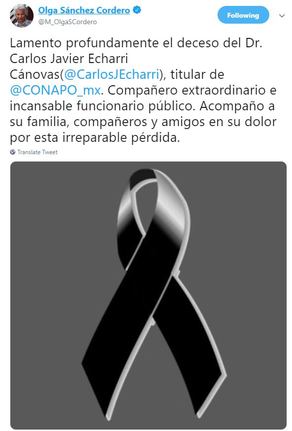 IMAGEN Muere Carlos Echarri, titular del Consejo Nacional de Población; lamenta su muerte la titular de Segob (Twitter)