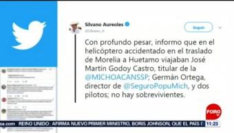 Muere secretario de Seguridad de Michoacán tras desplome de helicóptero