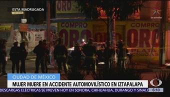 Mujer muere durante choque automovilístico en Iztapalapa, CDMX