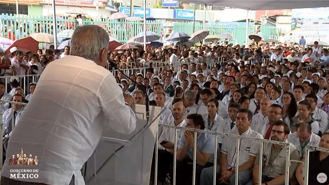 Foto: El presidente Andrés Manuel López Obrador aseguró que el Instituto Mexicano del Seguro Social (IMSS) estuvo encabezado por personas de muy bajo nivel, el 28 de julio de 2019 (Gobierno de México YouTube)