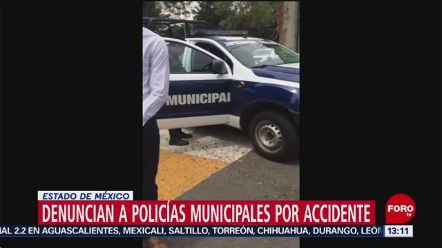 Patrulla de Naucalpan embiste auto