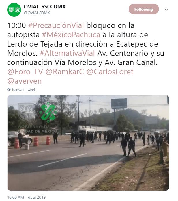 IMAGEN Policías federales realizan nuevo bloqueo en la México-Pachuca (SSC CDMX)