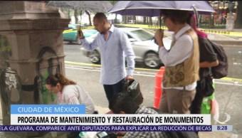 Realizan obras de limpieza y restauración a monumentos en Reforma, CDMX