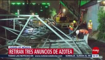 FOTO: Retiran tres anuncios de azotea en la Ciudad de México, 13 Julio 2019
