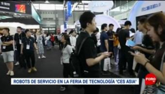 FOTO: Robots de servicio en la feria de tecnología 'CES Asia', 14 Julio 2019