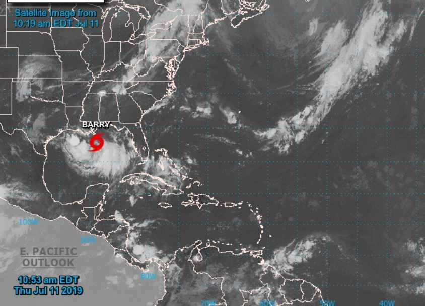 Foto: Tormenta Tropical Barry en el Golfo de México,12 de julio de 2019 (Centro Nacional de Huracanes)