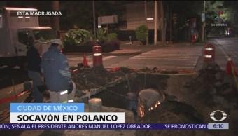 Se forman dos socavones por lluvias en Ecatepec y Polanco