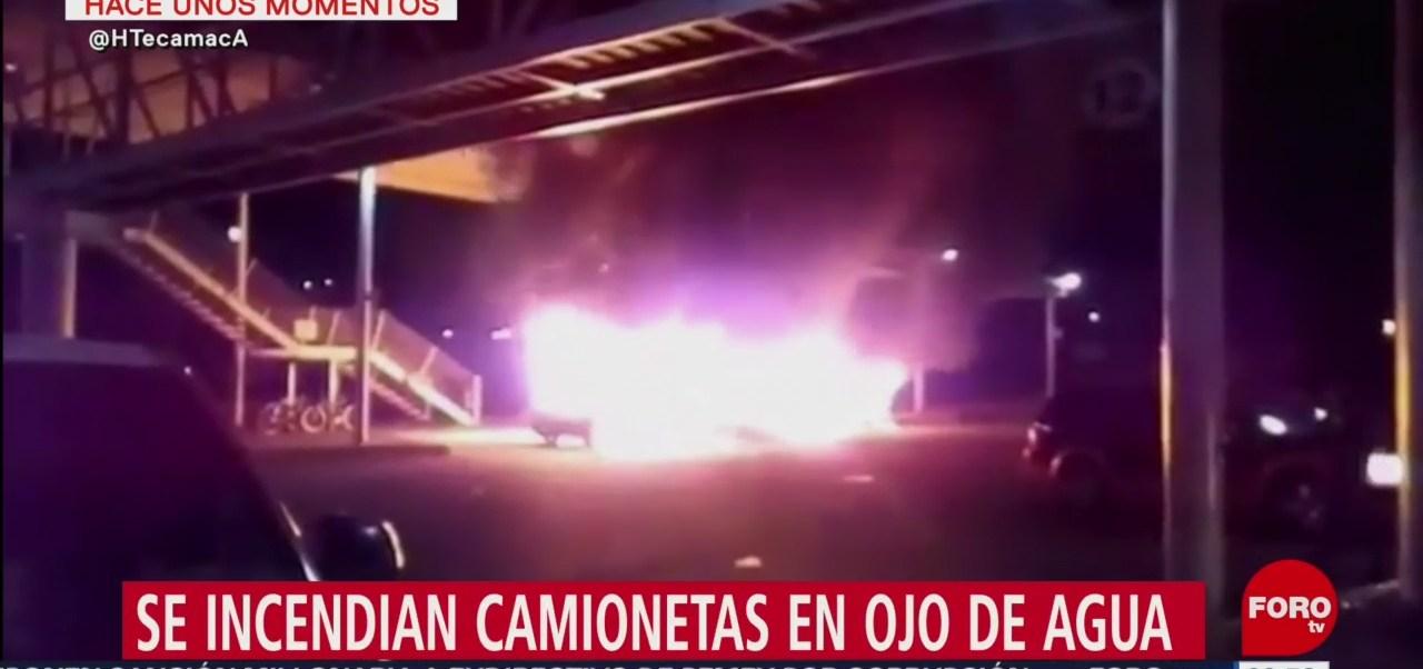 Se incendian unidades del transporte público en Ojo de Agua, Edomex
