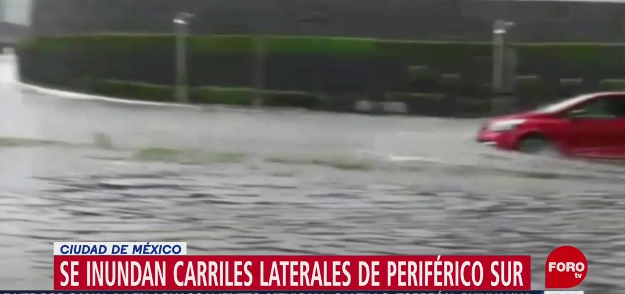 Foto: Se registra inundación en carriles laterales de Periférico Sur, CDMX