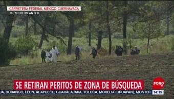 Foto: Se retiran peritos de zona de búsqueda en la México-Cuernavaca