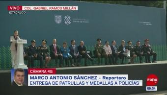 Sheinbaum entrega más de 60 nuevas patrullas para la Policía CDMX en Iztacalco