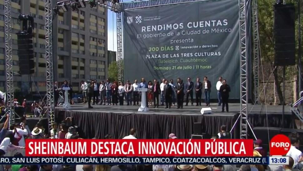 Foto: Sheinbaum destaca aumentos salariales a trabajadores del gobierno capitalino, el 21 de julio de 2019 (Noticieros Televisa)