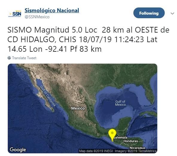 IMAGEN Sismo de magnitud 5 sacude Chiapas (SSN)