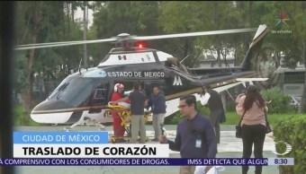 Trasladan corazón a hospital de la CDMX