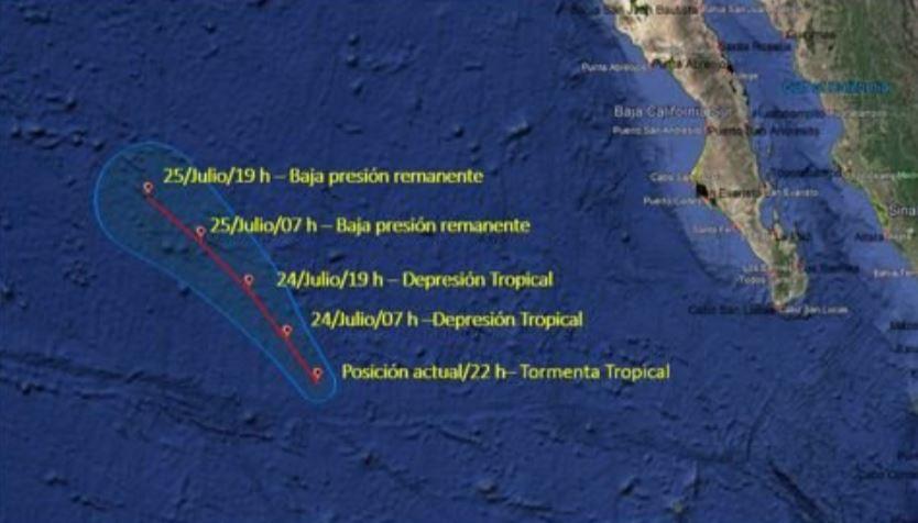trayectoria de la depresión tropical Dalila