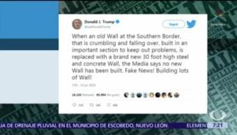 Trump reitera que hay avances en construcción de muro fronterizo