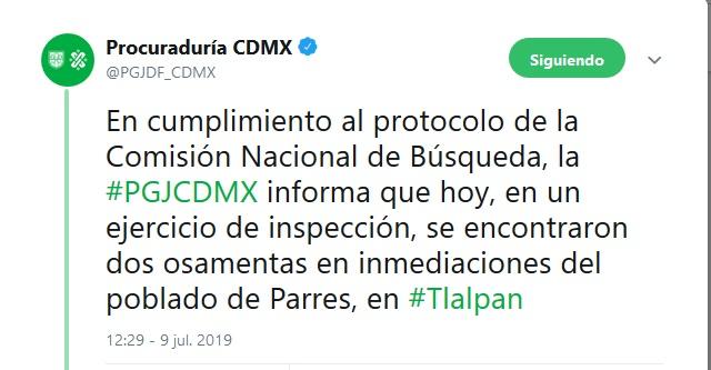 Foto: PGJ-CDMX confirma hallazgo de dos osamentas en Tlalpan, 9 de julio 2019. Twitter @PGJDF_CDMX