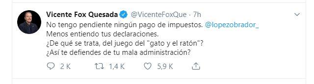Twitter: @VicenteFoxQue, 20 julio 2019