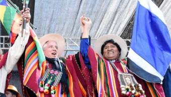Foto: El vicepresidente Álvaro García Linera junto al presidente de Bolivia, Evo Morales, el 28 de julio de 2019 (Twitter: @Evo_Pueblo)
