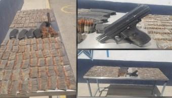 Foto: Las armas fueron incautadas por la FGR, 31 de julio de 2019, (Noticieros Televisa)