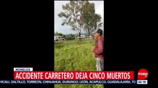 FOTO: Accidente carretero deja cinco muertos en Morelos, 25 Agosto 2019