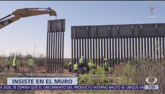 Afirma Trump que muro fronterizo avanza