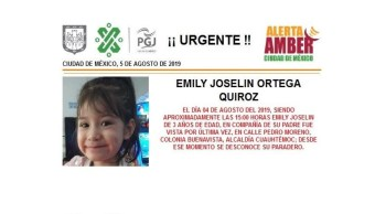 Foto Alerta Amber para ayudar a localizar a Emily Joselin Ortega 5 agosto 2019
