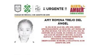 Foto Alerta Amber para localizar a Amy Romina Trejo del Ángel 2 agosto 2019