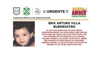Foto Alerta Amber para localizar a Erik Arturo Villa Buenrostro 9 agosto 2019