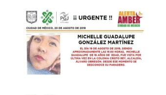 Foto Alerta Amber para localizar a Michelle Guadalupe González Martínez 21 agosto 2019