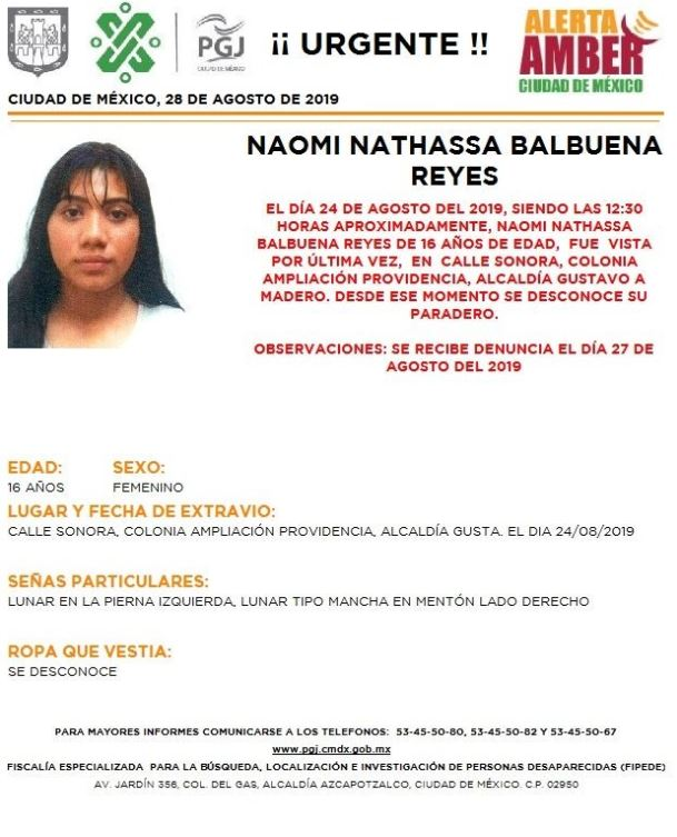 Foto Alerta Amber para localizar a Naomi Nathassa Balbuena Reyes 28 agosto 2019