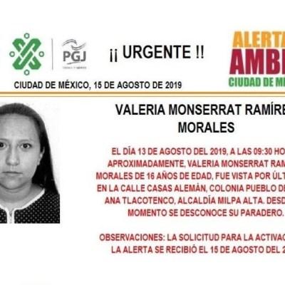 Alerta Amber: Ayuda a localizar a Valeria Monserrat Ramírez Morales