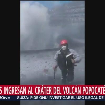 Alpinistas ingresan al cráter del volcán Popocatépetl