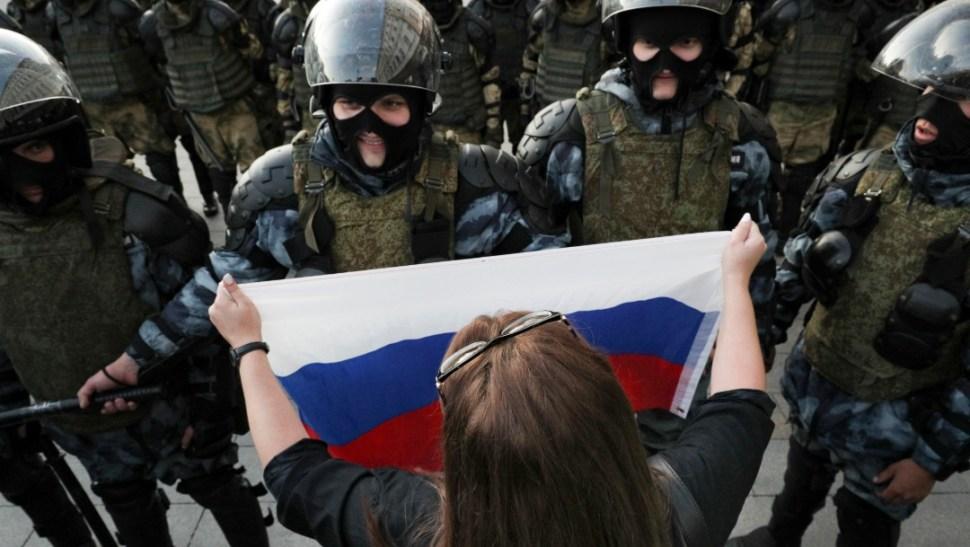 Foto: El grupo de monitoreo White Counter dijo que hasta 60.000 personas habían asistido al mitín de Moscú, 10 de agosto de 2019, (AP)