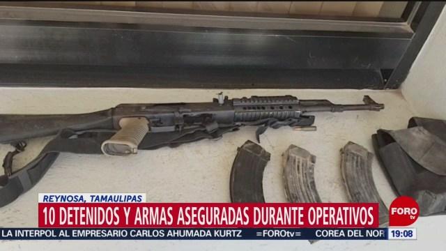 FOTO: Arrestan a 10 y aseguran armas en operativo en Reynosa, Tamaulipas, 18 Agosto 2019
