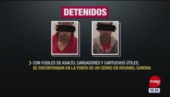 Arrestan a dos jóvenes con fusiles de asalto en Sonora