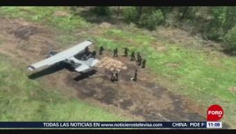 Aseguran avioneta con 450 kilos de cocaína en Chiapas