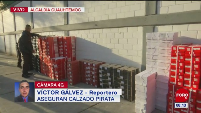 Aseguran calzado 'pirata' en la alcaldía Cuauhtémoc, CDMX